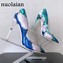 8/10/12CM Brand Women Shallow Pump Basic Shoes Woman Pumps Sexy Party Wedding Shoe Ladies High Heels Lady Snake Platform Sandals(China)
