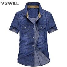 Летняя мужская джинсовая рубашка Blusas Masculina Camisas Para Hombre Chemise Homme мужская одежда мужские топы мужская рубашка с коротким рукавом