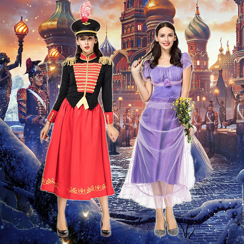 The Nutcracker And The Four Realms Clara Cosplay Costume Short Sleeve Dress And Knight Costume With Hat
