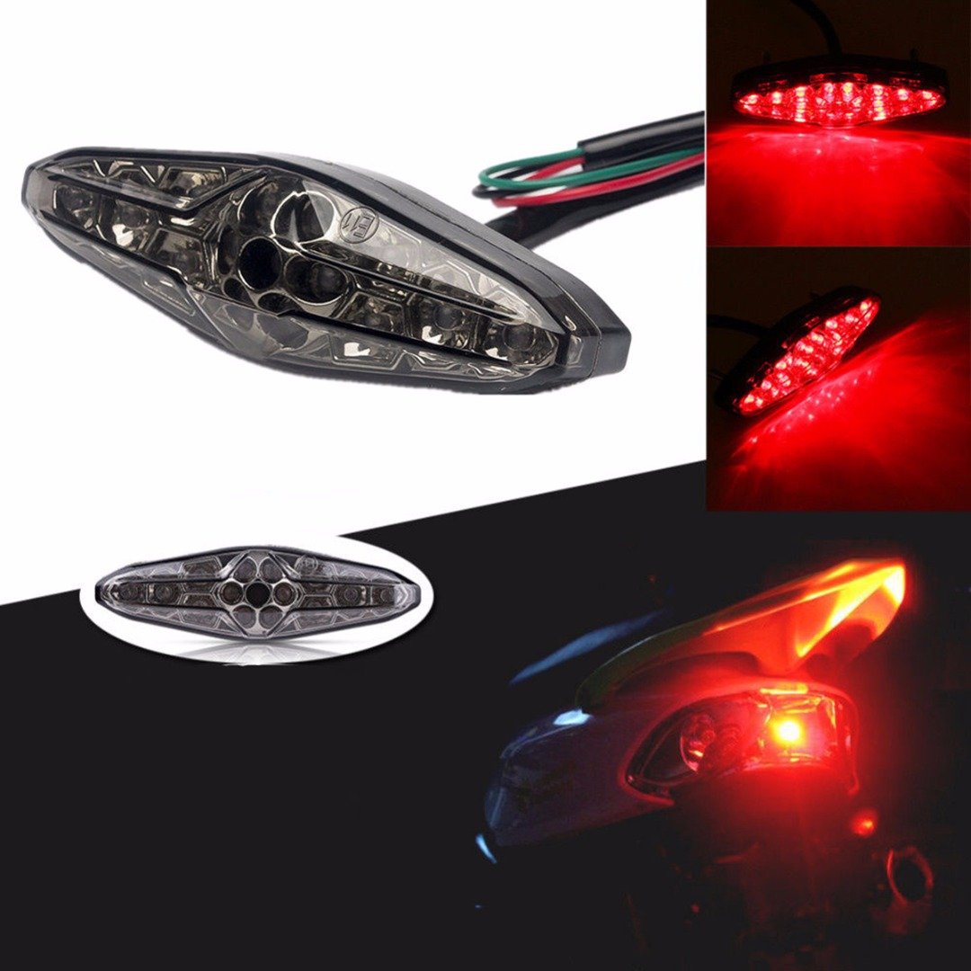 1PCS Motorcycle LED Integrated Rear Tail Brake Stop Light License Plate font b Lamp b font