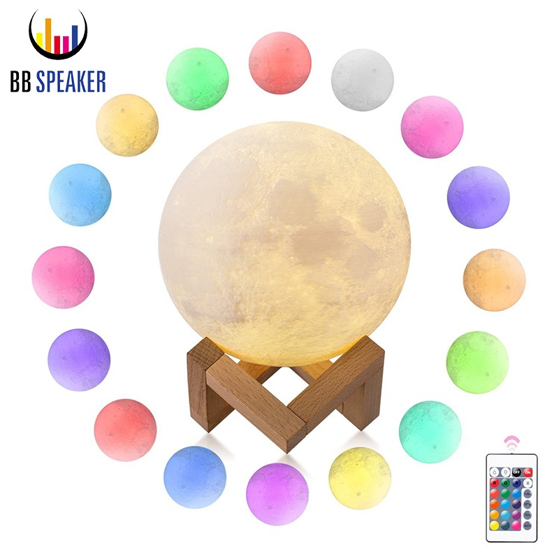 3D Printing Moon Lamp Usb Rechargeable Moon Lamp 18cm 20cm 2 color 16 Color Led Remote Bedroom Decor Kid Gift Moon Light fixture