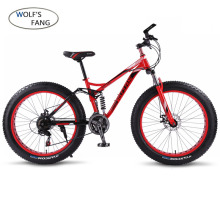 wolf's fang bicycle Mountain Bike 21 speed 26 4.0 frame fat bikes bicycle Snow bike Front and Rear Mechanical Disc Brade Male