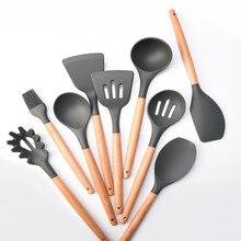 Kitchen utensil set Wood handle silica gel kitchenware non-stick spatula spoon beech Silica Spoon Home kitchen tools