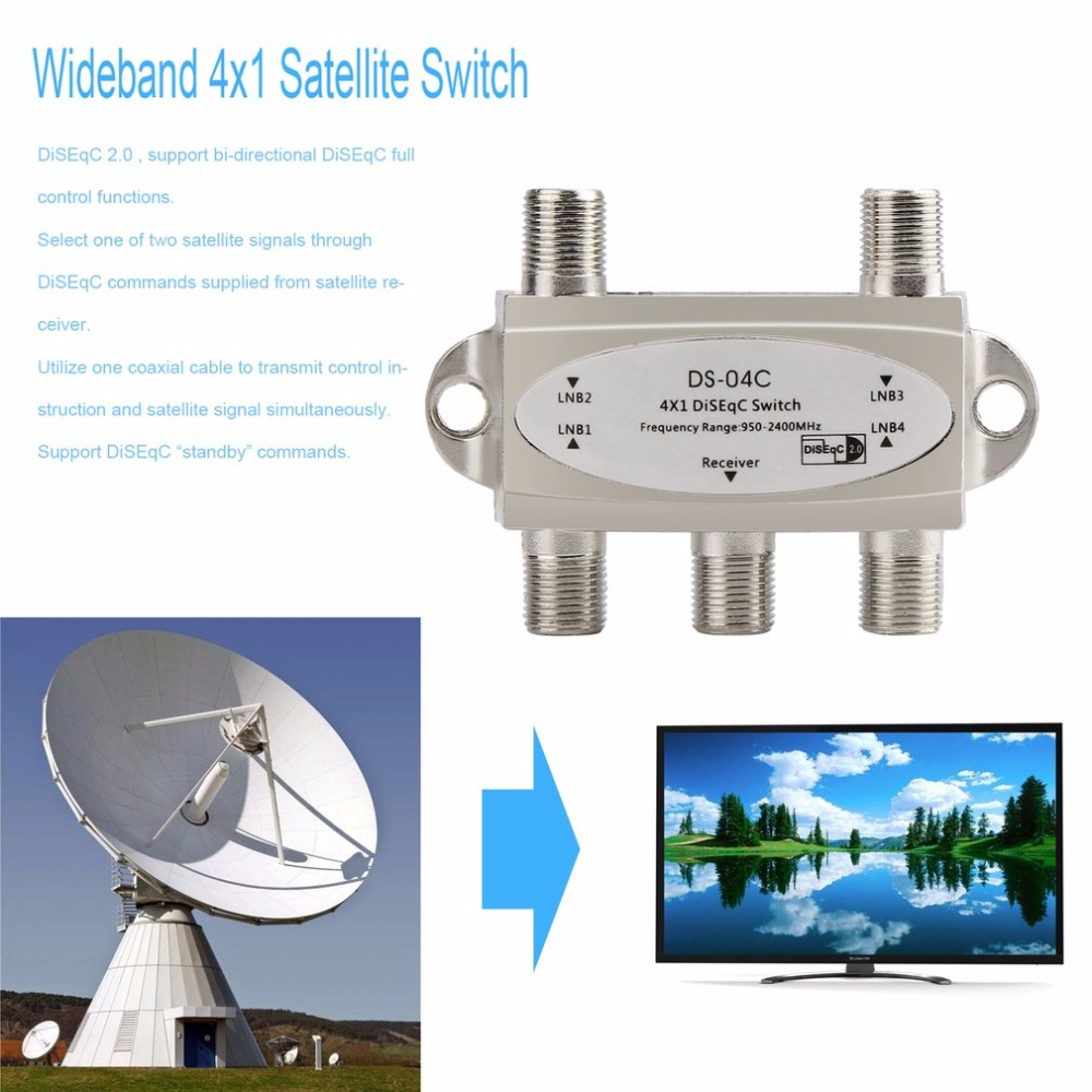 2017 New Wideband 4x1 DiSEqC 2.0 Model 4x1W Premium Satellite Switch FTA Dish LNB High Isolation Switch For Satellite Receiver 5