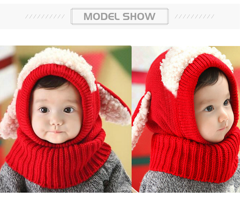 89e2815557e Winter Rabbit Fur Knitted Baby Caps Cute Baby Photography Props Soft ...