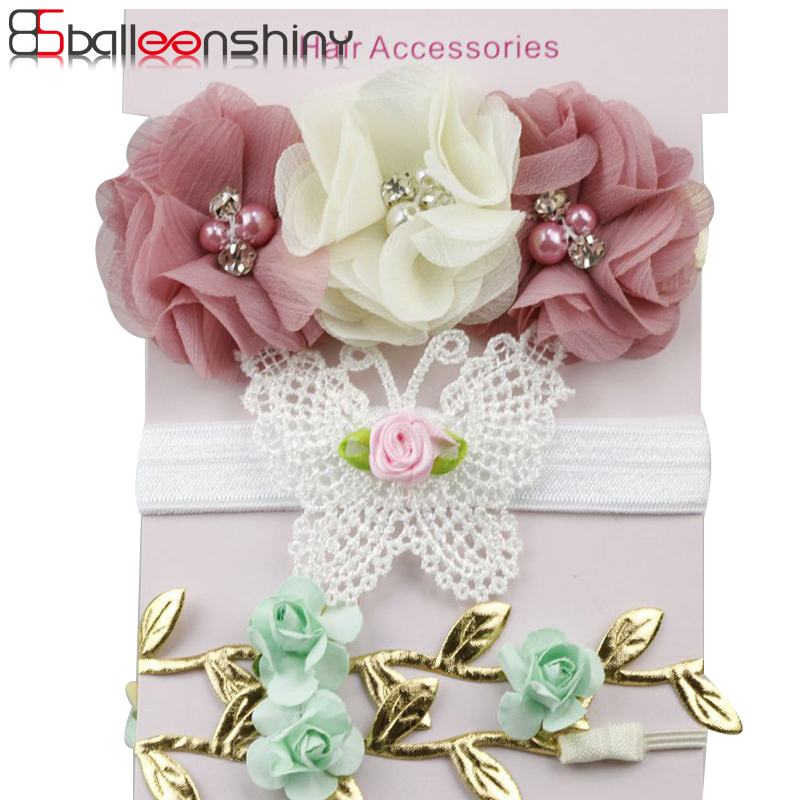 BalleenShiny 3Pcs/lot Fashion Flower Headband Baby Girls Butterfly Leaf Hair Band Children Gift Princess Hot Sale Hair Accessory колье royal diamond колье
