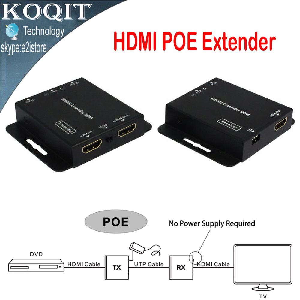цена на HDV-E50C Ultra Slim 1080p 50m/164ft HDMI Extender Over Single Cat5e/6 UTP Cable With IR Repeater Transmitter + Receiver