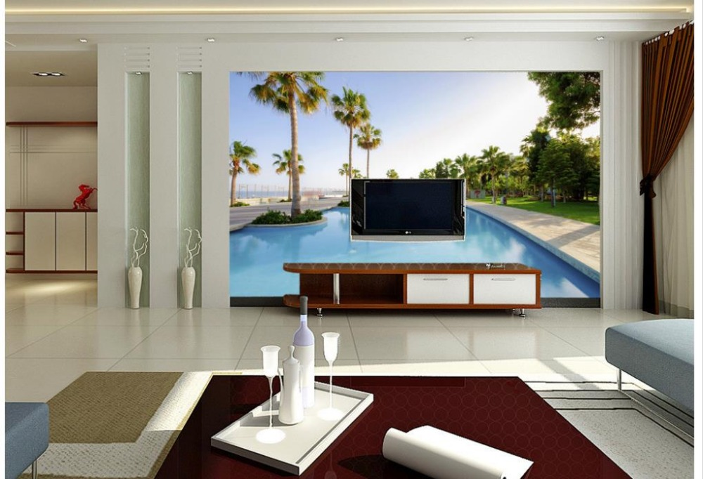 Home Decoration Swimming pool tree 3d landscape wallpaper custom photo wallpaper 3d land ...