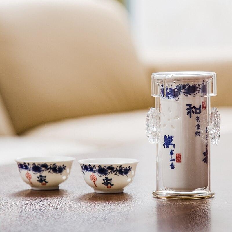 Elegantní keramické čajové sady Přenosný čajový set Kung Fu Porcelánový čaj Čaj Čajová konvice Cestovní sada 1 hrnec 2 šálky D034