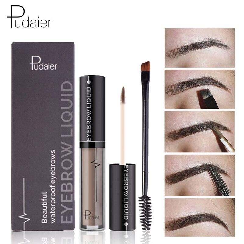 Pudaier Brand Eyebrow Gel Eyebrow Enhancers Brush Kit Waterproof Black Brown Pigments Liquid Eye Brow Pencil Tattoo Tint Makeup