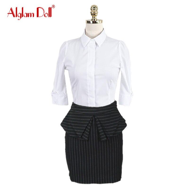 Alglam Doll font b Women b font 2 Pieces Set OL Work Office Ladies White Blouse