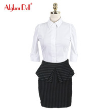 Alglam Doll Women 2 Pieces Set OL Work Office Ladies White Blouse Top Shirt + Ruffles Striped Skirt 2017 Summer Dress Vestidos