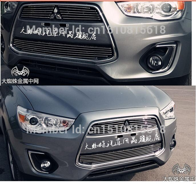 Car front bumper Mesh Grille Around Trim Racing Grills 2013-2014For Mitsubishi ASX Quality Stainless steel