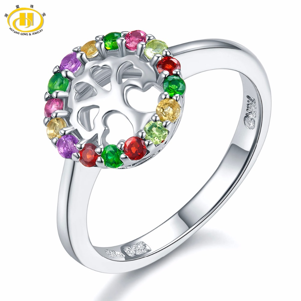 Hutang Family Tree Natural Multi-color Gemstone Ring Solid 925 Sterling Silver Fine Jewelry Garnet Amethyst Diopside CitrineHutang Family Tree Natural Multi-color Gemstone Ring Solid 925 Sterling Silver Fine Jewelry Garnet Amethyst Diopside Citrine