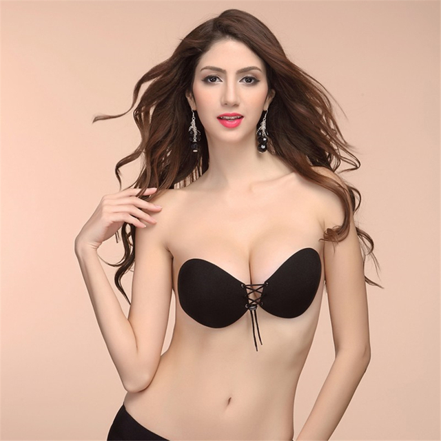 58e3cbbc68 Women Sexy Bralette Silicone Bra Invisible Push Up Stick On Self Adhesive  Front Lacing Bras Strapless