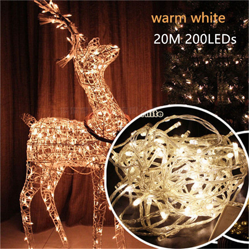 20M 200 Led String Garland Christmas Tree Fairy Light AC110V/220V Luce Waterproof Home Garden Party Outdoor Holiday Decoration
