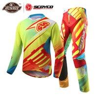 SCOYCO Professional Мотокросс костюм мотоцикл Джерси Набор гоночная футболка костюм для верховой езды внедорожные брюки спортивная одежда