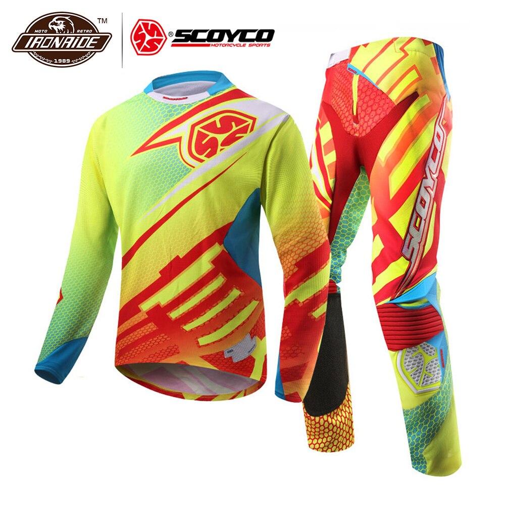 SCOYCO Professionnel Motocross Suit Moto Maillot Ensemble de Course T-Shirt Costume Tout-terrain Pantalon Pantalon Pantalon vêtements de sport