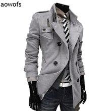 Мода 2017 aowofs двубортный зимняя одежда дизайн шерстяные смеси пальто пыли trech шерсть куртка джентльмен ветровка