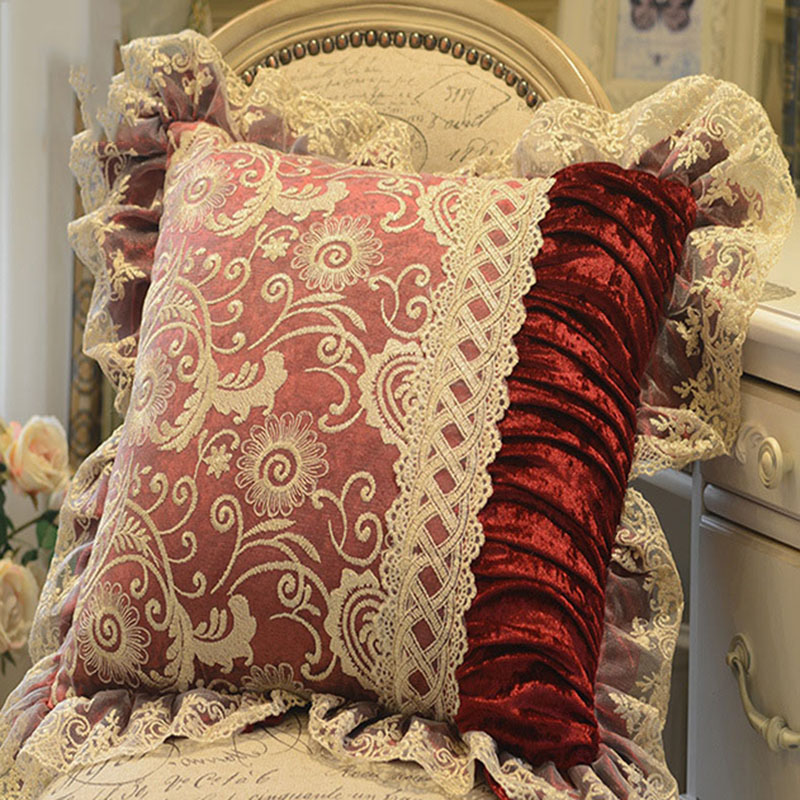 European Classical Cushion Cover Lace velvet Solid Cushion Covers