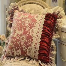 Europeo Clásico Funda de Cojín Fundas de cojines Sofá de Lujo de Encaje de terciopelo Sólido Floral Asiento throw Pillow Covers Home cojines