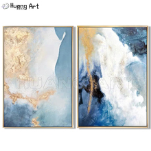 New Arrival Europe Artist Hand-painted Modern Abstract Oil Painting On Canvas Gold Foil Picture For Wall Decoration