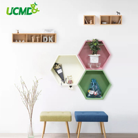 Magnetic Wooden Wall Sticker Space Saving Polygon Punch Free Storage Hexagon Shelf Box Home Bedroom Kitchen Decoration Stickers