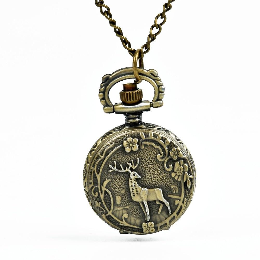 6111  Vintage Fawn Quartz Mini Pocket Watch Classic Inside Arabic Number Pendant Bronze Flower Tree With Necklace