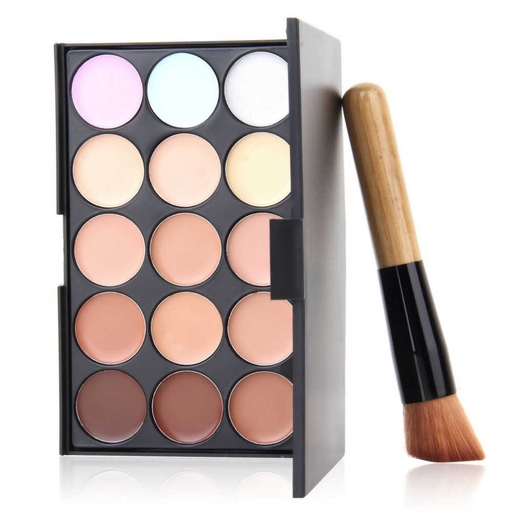 US $3.1 10% OFF|15Color Concealer Foundation Highlighter Facial Face Cream Care Camouflage Makeup Palettes with Liquid Foundation Make up Brush in
