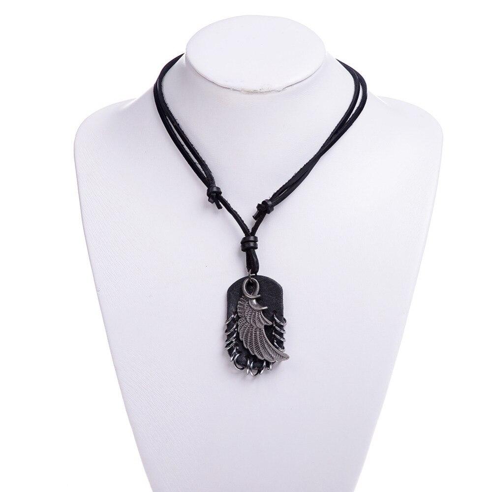 1 Pc Wholesale Retro Puck Style Men leather Pendant Necklace head For Men Pendant Jewelry Low Price Wholesale