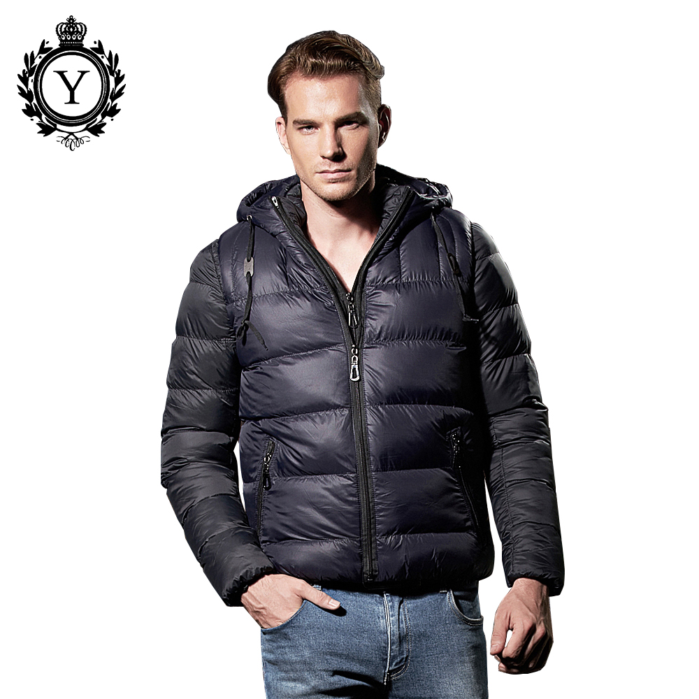COUTUDI 2017 Winter Male Down Parka Coats Solid Black Nylon Overcoat Waterproof Men Jacket Two-pieces Casual Warm Men's Clothing