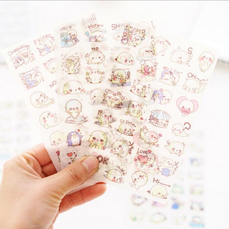 Купить с кэшбэком 6pcs/lot cute Small sea lion PET cartoon sticker decoration sticker diy Cartoon Scrapbooking Stickers album creative stationery