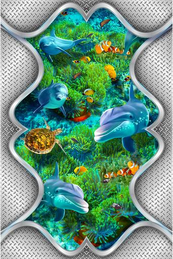 Custom 3d wallpaper 3d ceiling wallpaper murals underwater world dolphins and sea turtle ...
