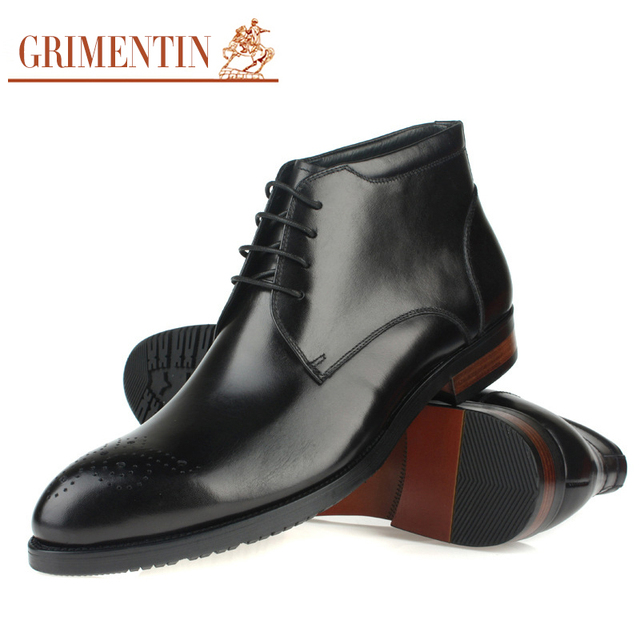 Grimentin Men Black Dress Boots Genuine Leather Lace Up Classic