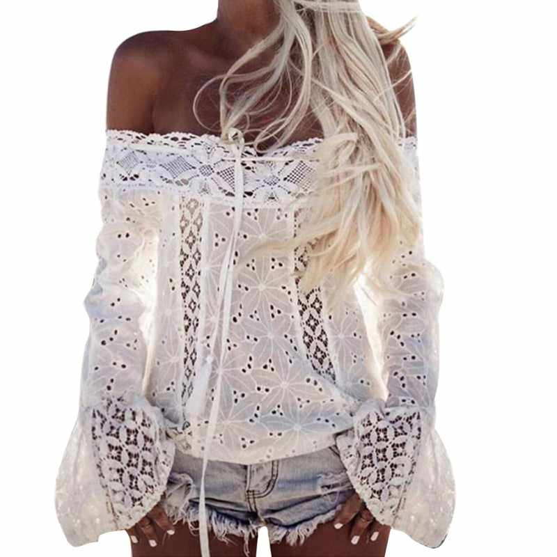 2018 Summer Hollow Out White Lace Blouse Shirt Women Fashion Off Shoulder Top Slash neck Flare Sleeve Female Blouses Tops