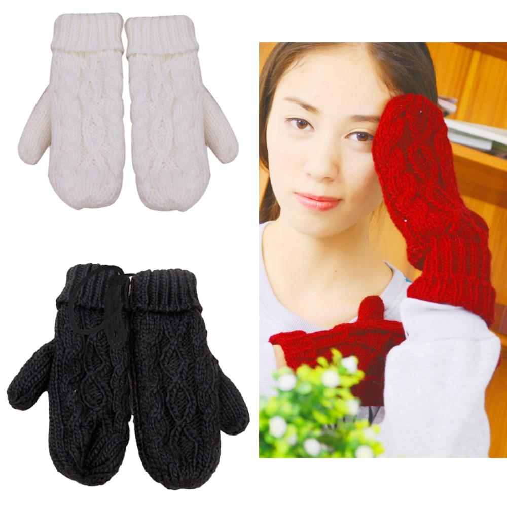 Hot Women Thick Wool Warm Ladies Winter Knitted Twist Gloves Mittens Women's Accessories