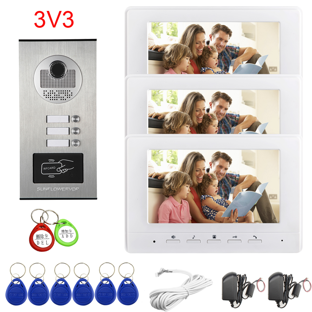 Apartments 2/3/4/6/8 Video Door Entry Access Control Rfid Cards Unlock Intercom Doorbell  With 7Inches Color Indoor Monitor