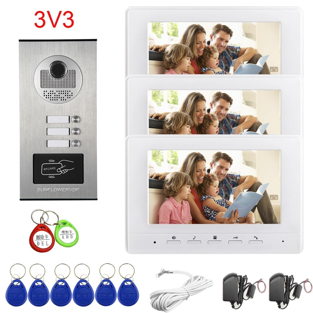 Apartments 2/3/4/6/8 Video Door Entry Access Control Rfid Cards Unlock Intercom Doorbell  With 7Inches Color Indoor Monitor