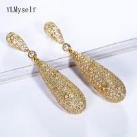 71mm Hyperbole Long drop earrings Luxury jewellery Gold and White color Micro setting Cubic Zirconia Women Big pendant earring