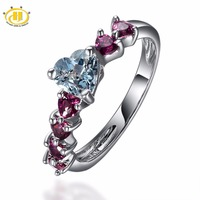 Women S Natural Aquamarine And Rhodolite Garnet In Sterling 925 Silver Heart Ring