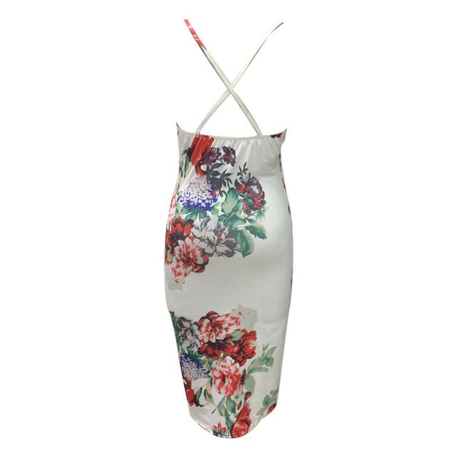2017 Summer Sexy Women Floral Bodycon Bandage Dress Spaghetti Strap Side Split Backless Sundress Club Dresses