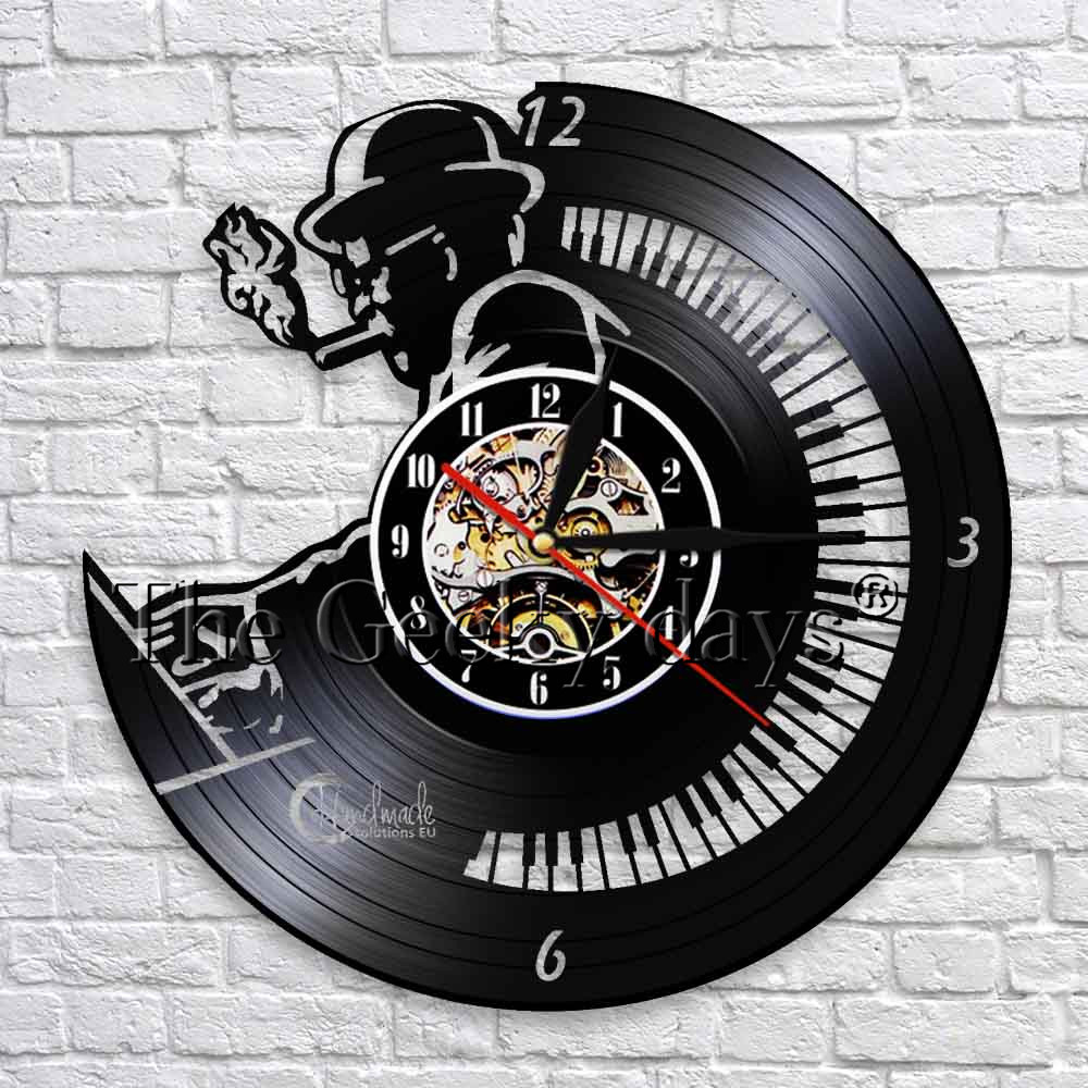 Piano Player Silhouette Play The Piano Music Vinyl Record Wall Clock Modern Design Personality Wall Art Decor For CD Shop