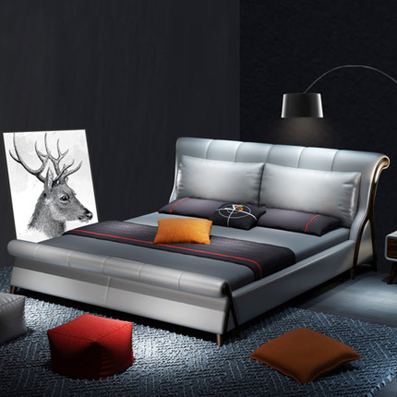 Simple Modern Nordic Leather Double Wedding Leather Bed simple odern nordic leather double wedding leather bed furniture