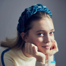 3cm Wide Women Plain Braided Design Hairbands Retro Velvet Hair Hoop Headband Accessories Solid Color Braid Headwear