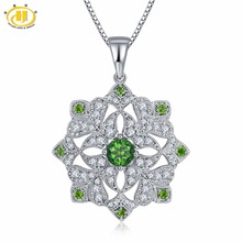 Hutang Flower Maxi Necklace for Women 925 Sterling Silver Fine Diamond Jewelry Chrome Diopside Choker Koyle Free Chain Gifts New