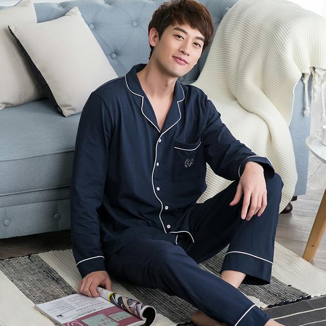 2016 homens Chegada Novo Outono de Algodão Casuais Conjuntos de Pijama Pijama Casal Sleepwear Loungewear
