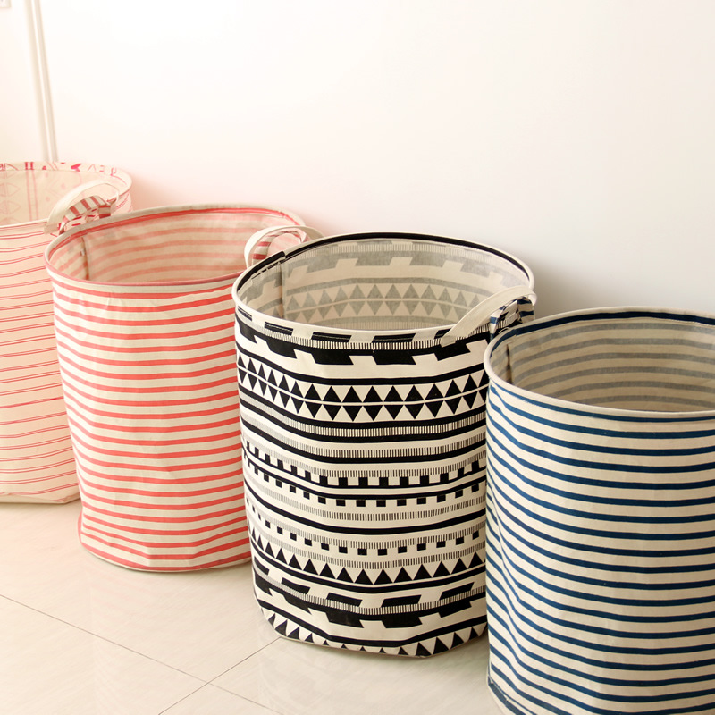 Japanese Style Stripes Cotton Linen barrels laundry Storage Baskets Toys Clothes Baby Home Organizer-in Storage Baskets from Home u0026 Garden on Aliexpress.com ...  sc 1 st  AliExpress.com & Japanese Style Stripes Cotton Linen barrels laundry Storage Baskets ...