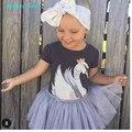Humor Oso 2016 Del Verano lindo cisne niñas ropa Bebé Vestido de La Muchacha Para Bebé Floral Princesa Vestido de Los Niños Vestidos de los niños ropa