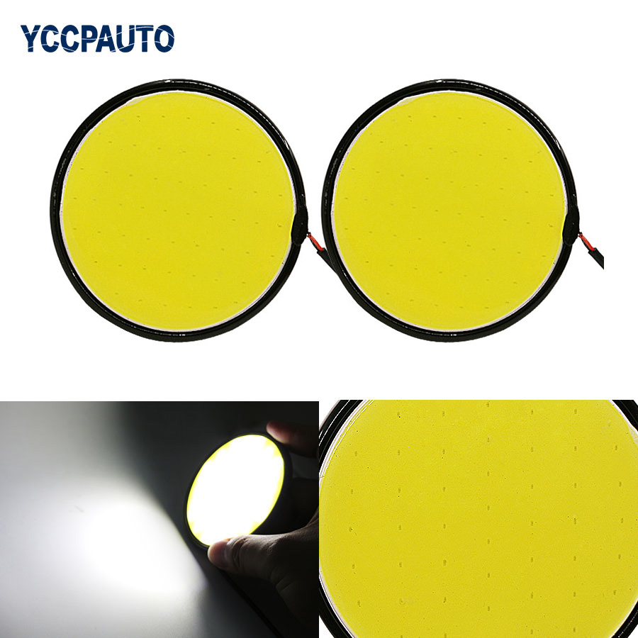 Daytime Running Light DRL car-styling COB LED White Car Auto Round Shape Metal Waterproof Driving Fog Lamp Lights Source 12V 2pc 1 pair metal shell eagle eye hawkeye 6 led car white drl daytime running light driving fog daylight day safety lamp waterproof
