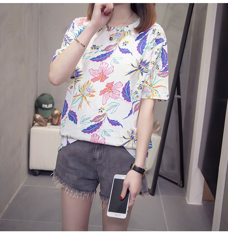 Nkandby Flower Print Summer T-shirt For Woman Fashion Casual Short sleeve Ladies Tshirt 2019 New Bamboo Plus size Basic Tops 4XL 11